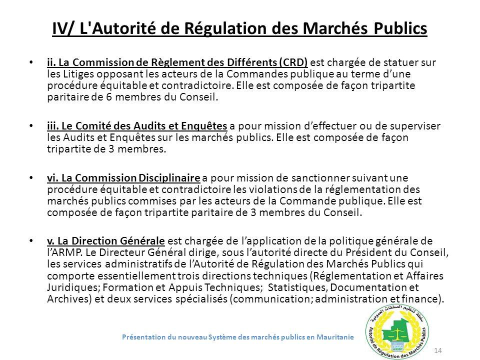 IV/ L'Autorité de Régulation des Marchés Publics ii. La Commission de Règlement des Différents (CRD) est chargée de statuer sur les Litiges opposant l