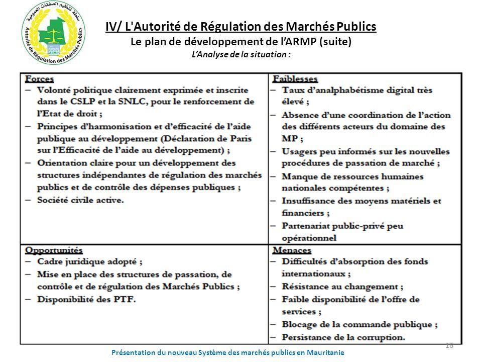 IV/ L'Autorité de Régulation des Marchés Publics Le plan de développement de lARMP (suite) LAnalyse de la situation : Présentation du nouveau Système