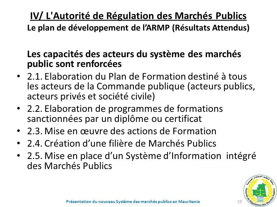 IV/ L'Autorité de Régulation des Marchés Publics Le plan de développement de lARMP (Résultats Attendus) Les capacités des acteurs du système des march