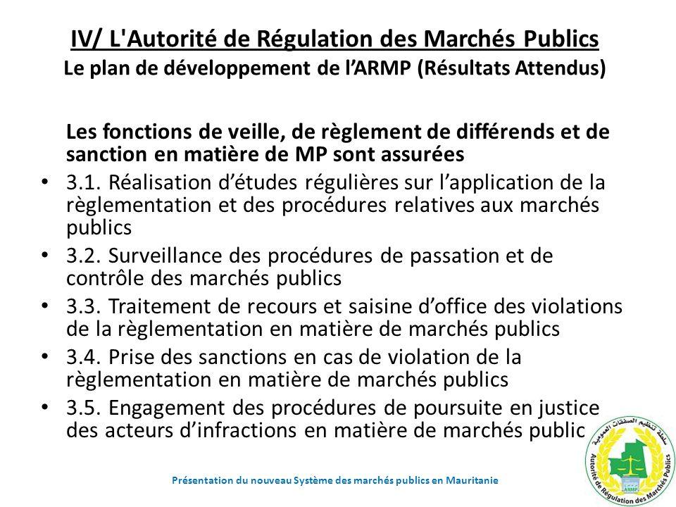 IV/ L'Autorité de Régulation des Marchés Publics Le plan de développement de lARMP (Résultats Attendus) Les fonctions de veille, de règlement de diffé