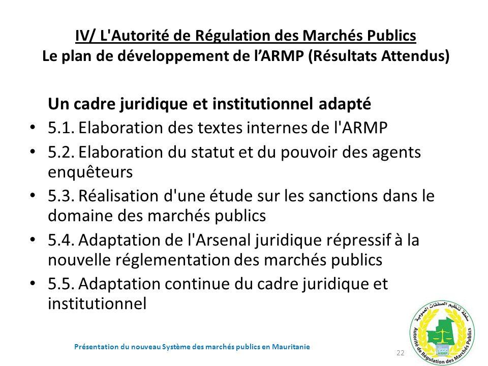 IV/ L'Autorité de Régulation des Marchés Publics Le plan de développement de lARMP (Résultats Attendus) Un cadre juridique et institutionnel adapté 5.