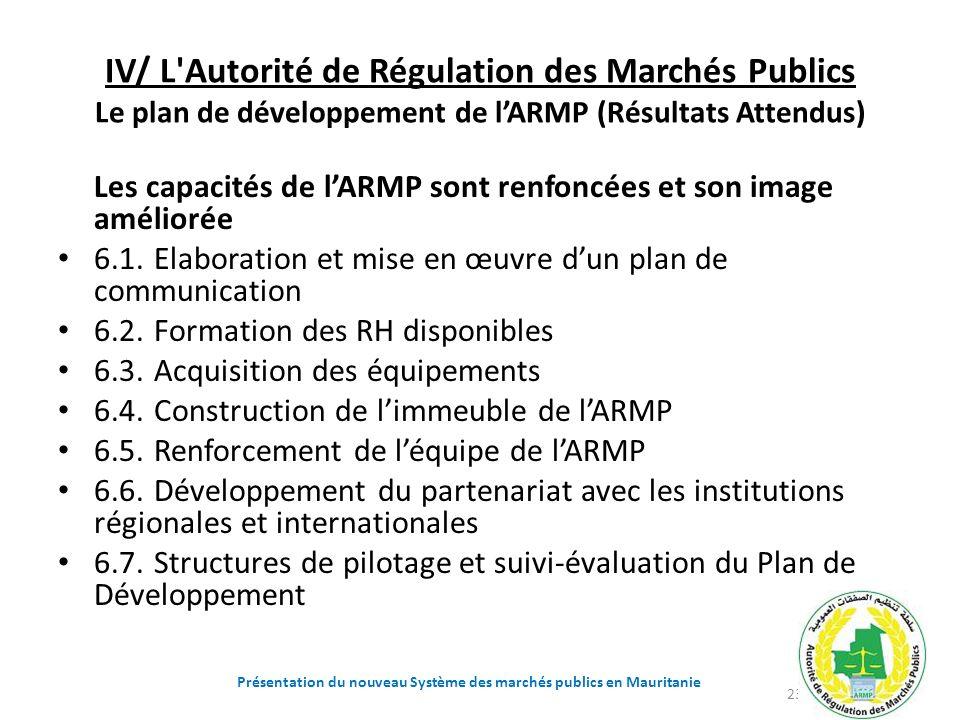 IV/ L'Autorité de Régulation des Marchés Publics Le plan de développement de lARMP (Résultats Attendus) Les capacités de lARMP sont renfoncées et son