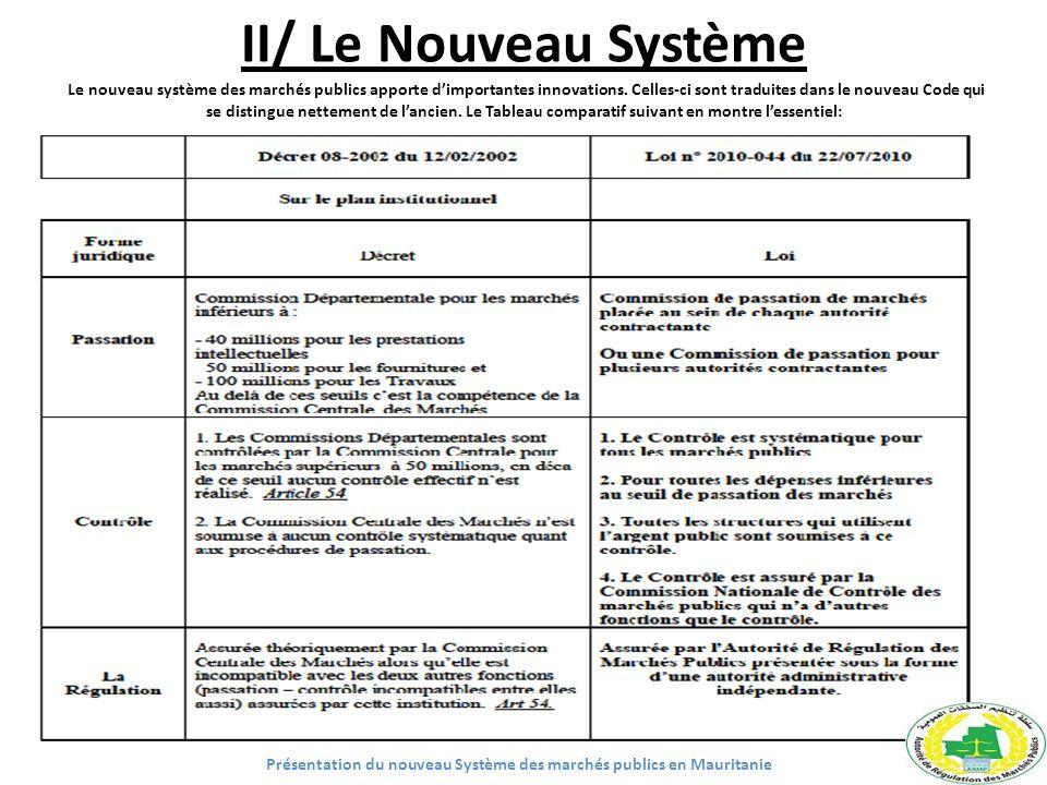 II/ Le Nouveau Système Le nouveau système des marchés publics apporte dimportantes innovations. Celles-ci sont traduites dans le nouveau Code qui se d