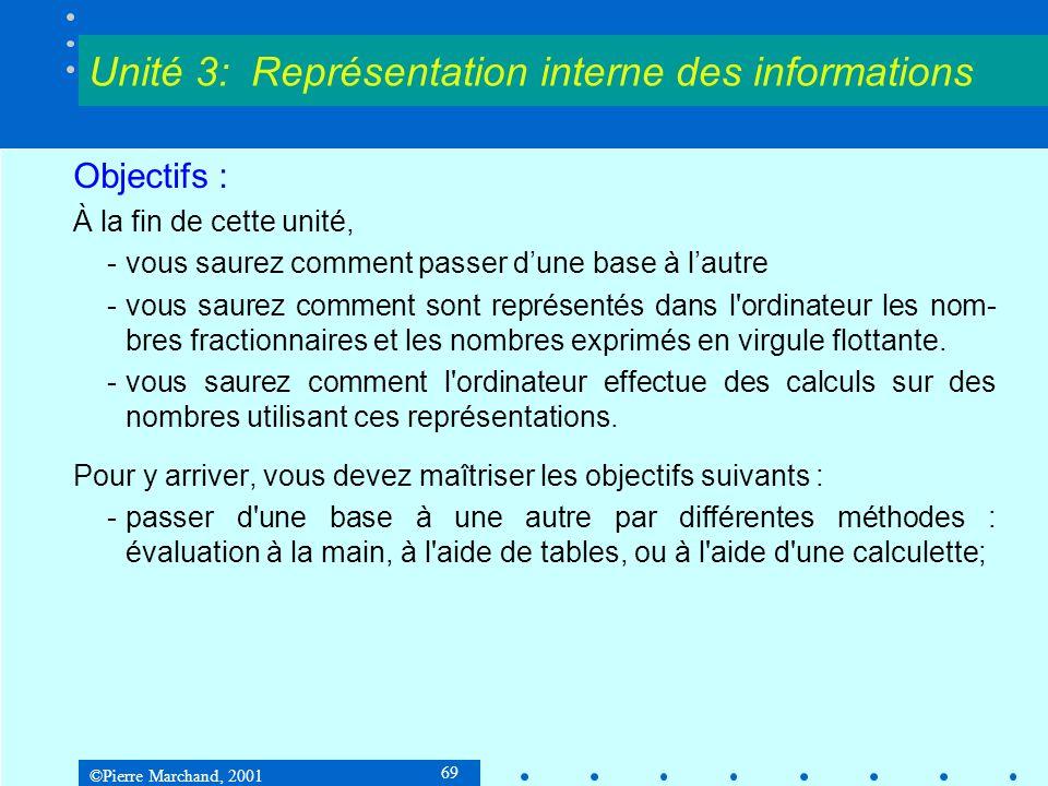 ©Pierre Marchand, 2001 110 3.3 Données numériques Conversion rapide des grands nombres décimaux en binaire 3 e étape Comme 256 = 16 2, on représente ensuite chacun des termes en base 16.