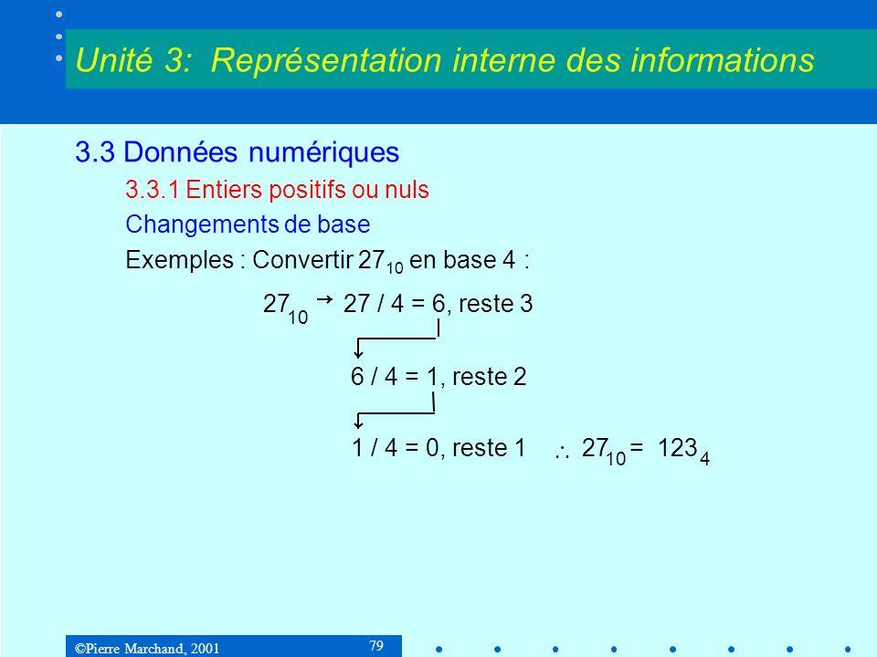 ©Pierre Marchand, 2001 79 3.3 Données numériques 3.3.1 Entiers positifs ou nuls Changements de base Exemples : Convertir 27 10 en base 4 : Unité 3: Re