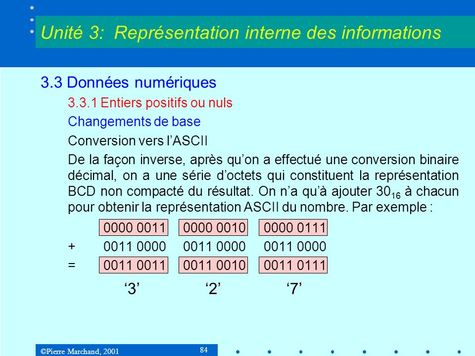 ©Pierre Marchand, 2001 84 3.3 Données numériques 3.3.1 Entiers positifs ou nuls Changements de base Conversion vers lASCII De la façon inverse, après