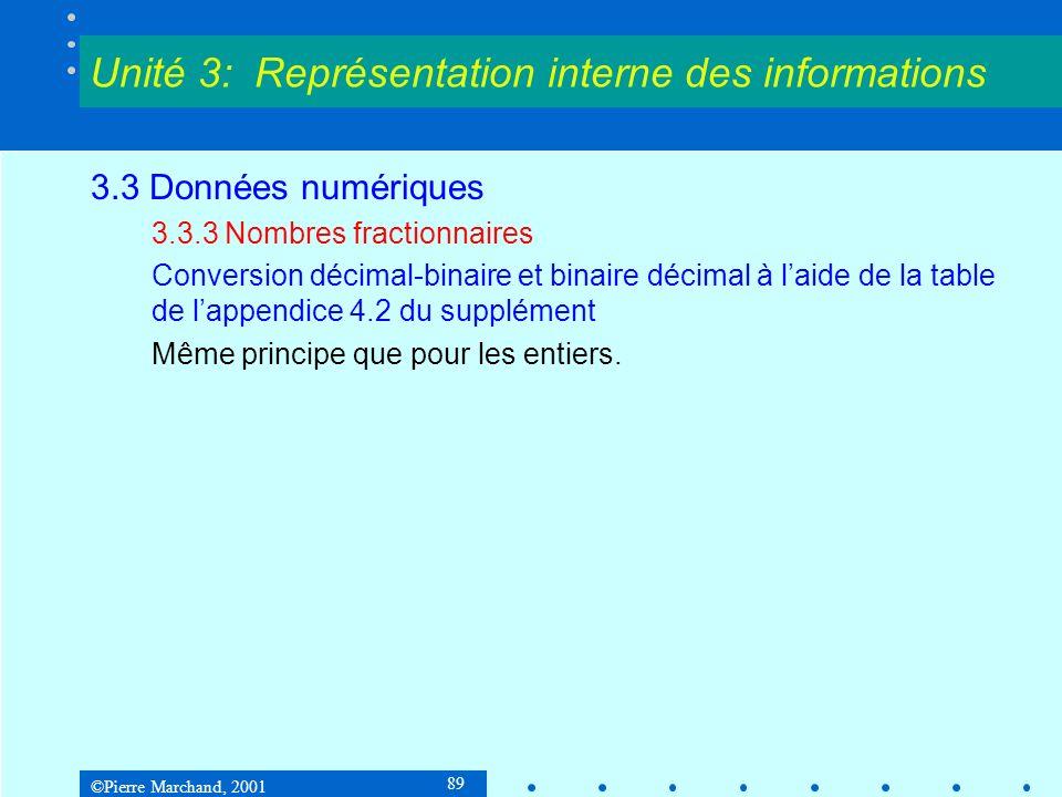 ©Pierre Marchand, 2001 89 3.3 Données numériques 3.3.3 Nombres fractionnaires Conversion décimal-binaire et binaire décimal à laide de la table de lap
