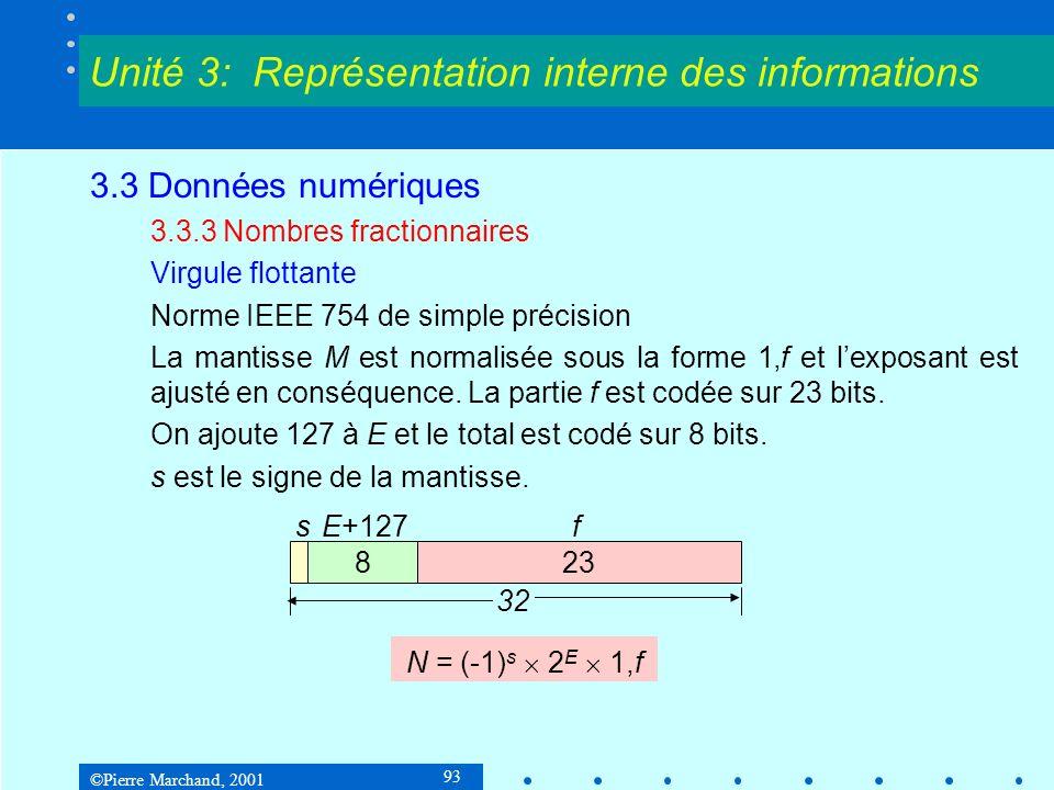 ©Pierre Marchand, 2001 93 3.3 Données numériques 3.3.3 Nombres fractionnaires Virgule flottante Norme IEEE 754 de simple précision La mantisse M est n