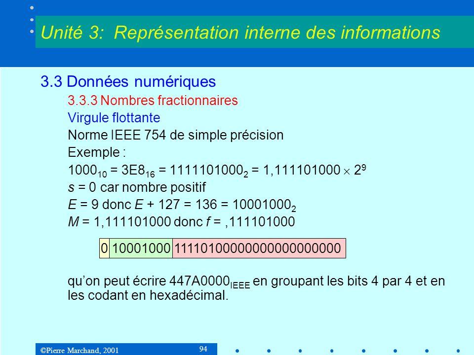 ©Pierre Marchand, 2001 94 3.3 Données numériques 3.3.3 Nombres fractionnaires Virgule flottante Norme IEEE 754 de simple précision Exemple : 1000 10 =