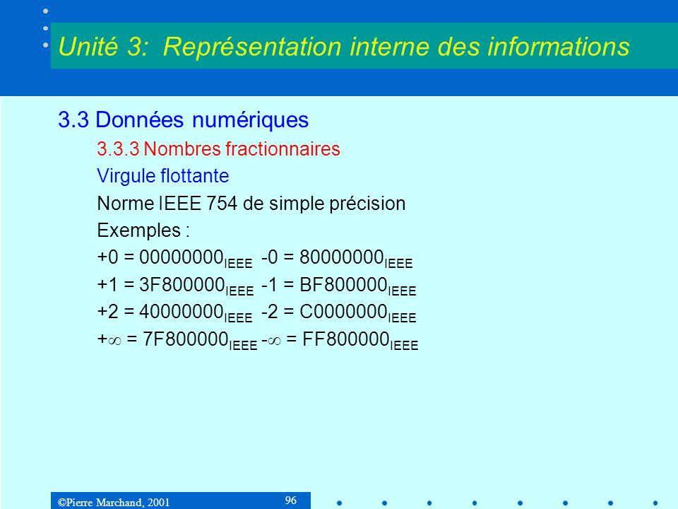 ©Pierre Marchand, 2001 96 3.3 Données numériques 3.3.3 Nombres fractionnaires Virgule flottante Norme IEEE 754 de simple précision Exemples : +0 = 000