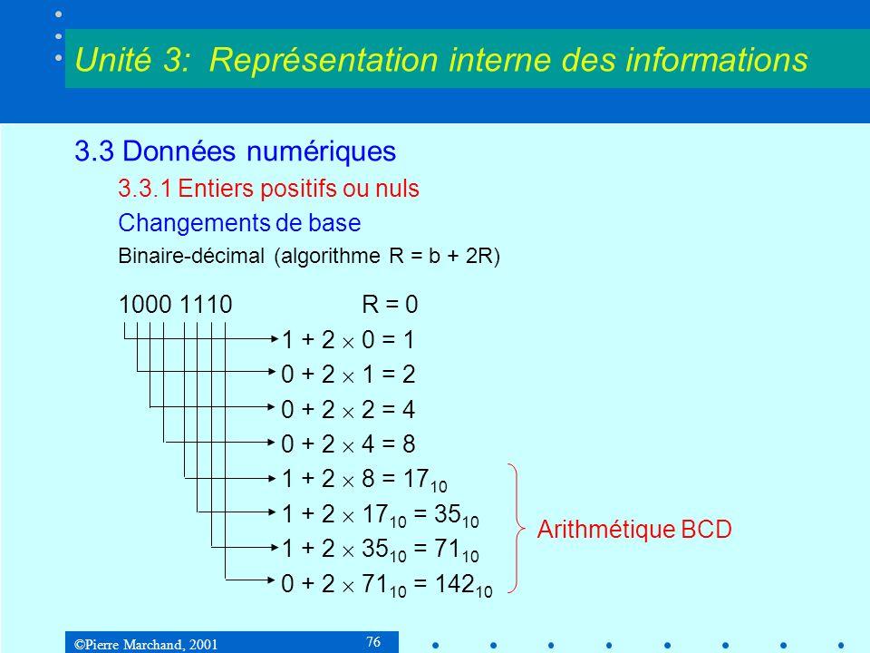 ©Pierre Marchand, 2001 77 3.3 Données numériques 3.3.1 Entiers positifs ou nuls Changements de base Décimal-binaire (algorithme R = c + 10R) 142 R = 0 1 + 1010 2 0 = 1 100 2 + 1010 2 1 = 1110 2 10 2 + 1010 2 1110 2 = 1000 1110 2 Unité 3: Représentation interne des informations