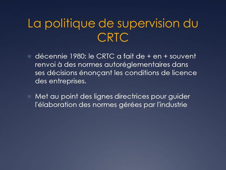 La politique de supervision du CRTC décennie 1980: le CRTC a fait de + en + souvent renvoi à des normes autoréglementaires dans ses décisions énonçant