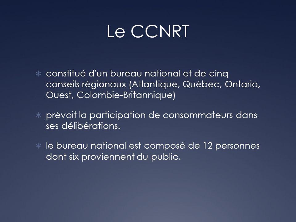 Le CCNRT constitué d'un bureau national et de cinq conseils régionaux (Atlantique, Québec, Ontario, Ouest, Colombie-Britannique) prévoit la participat