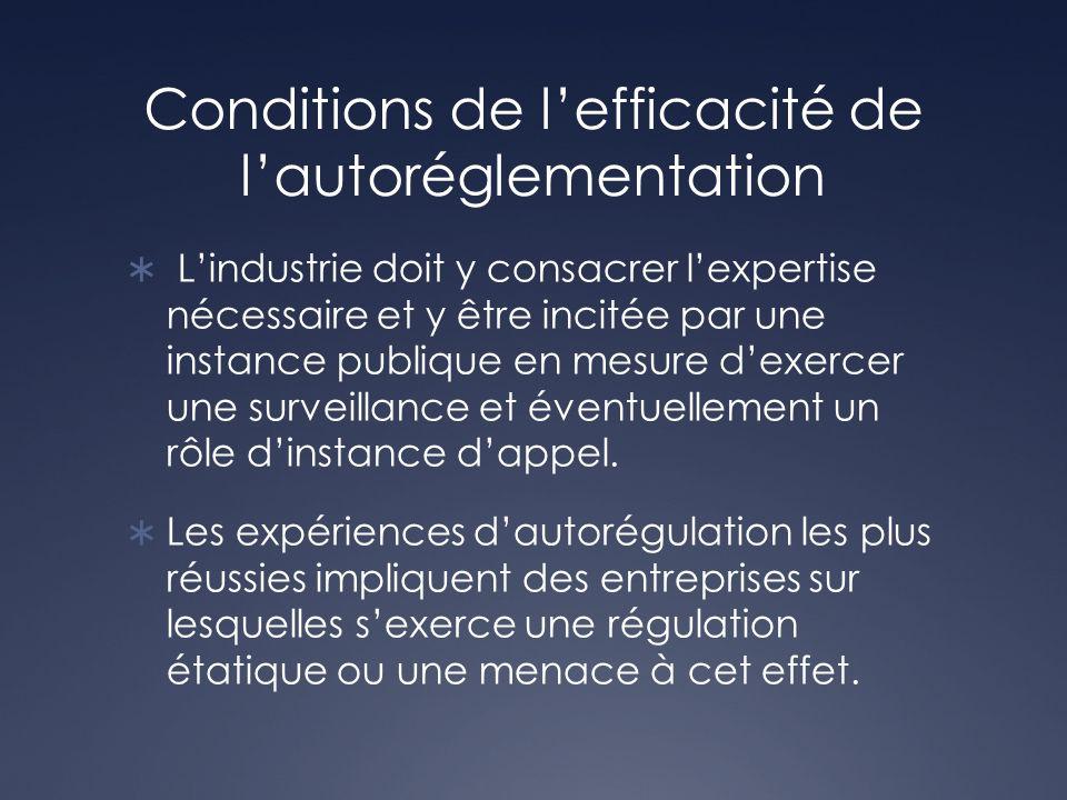Conditions de lefficacité de lautoréglementation Lindustrie doit y consacrer lexpertise nécessaire et y être incitée par une instance publique en mesu