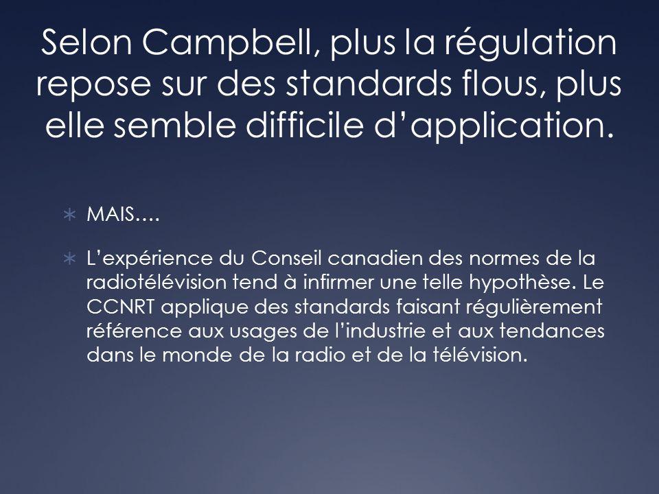 Selon Campbell, plus la régulation repose sur des standards flous, plus elle semble difficile dapplication. MAIS…. Lexpérience du Conseil canadien des