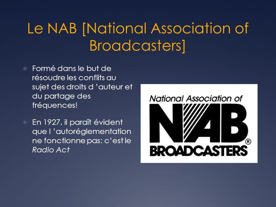 Le NAB [National Association of Broadcasters] Formé dans le but de résoudre les conflits au sujet des droits d auteur et du partage des fréquences! En