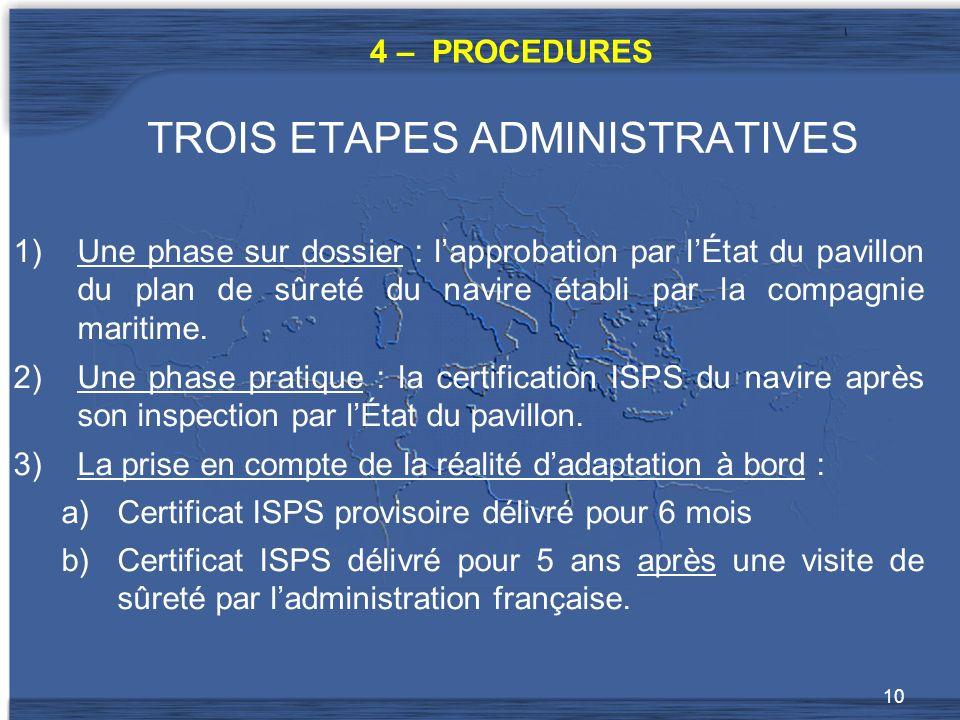 10 TROIS ETAPES ADMINISTRATIVES 1)Une phase sur dossier : lapprobation par lÉtat du pavillon du plan de sûreté du navire établi par la compagnie maritime.