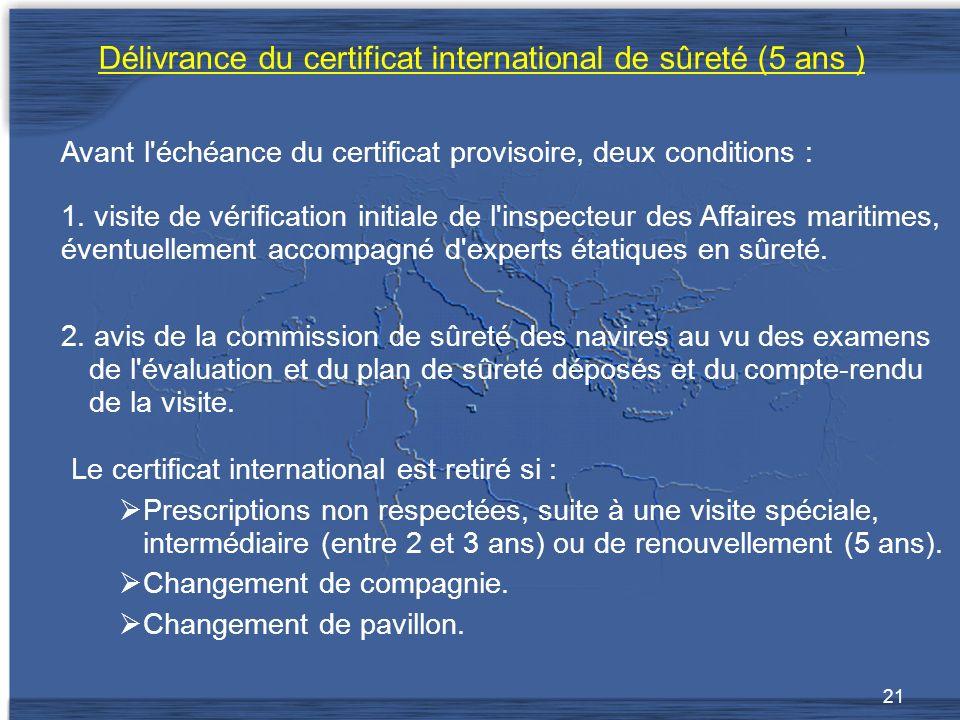21 Délivrance du certificat international de sûreté (5 ans ) 2.