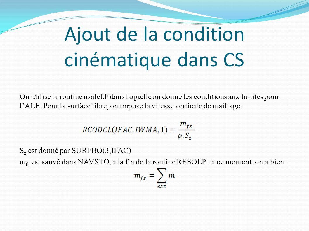 Ajout de la condition cinématique dans CS On utilise la routine usalcl.F dans laquelle on donne les conditions aux limites pour lALE.