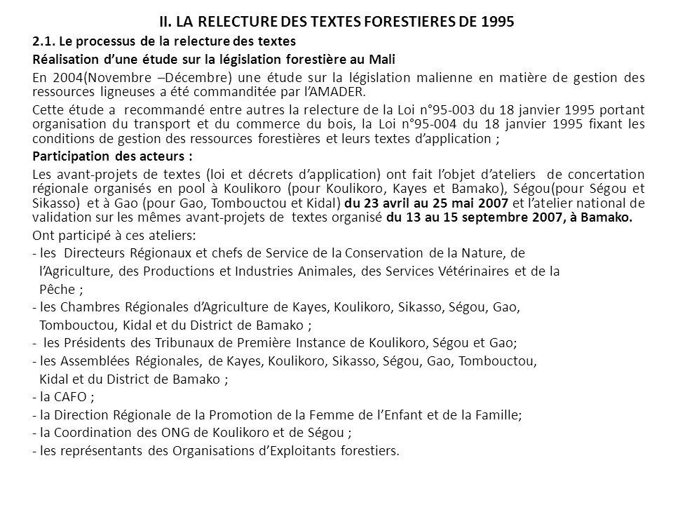 II. LA RELECTURE DES TEXTES FORESTIERES DE 1995 2.1. Le processus de la relecture des textes Réalisation dune étude sur la législation forestière au M