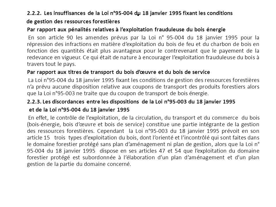 . 2.2.2. Les insuffisances de la Loi n°95-004 du 18 janvier 1995 fixant les conditions de gestion des ressources forestières Par rapport aux pénalités