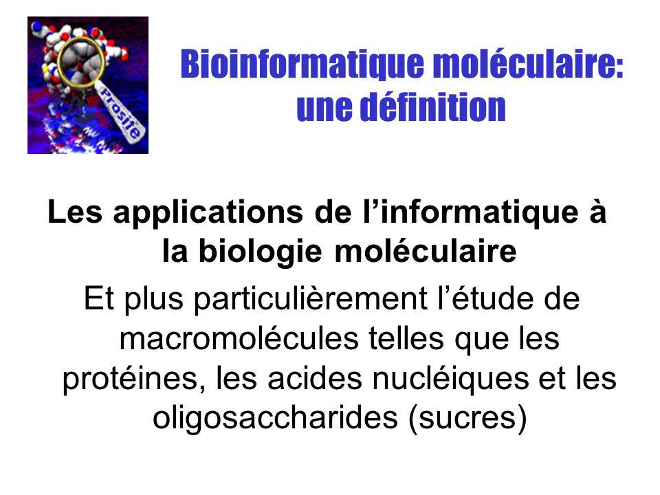 Bioinformatique moléculaire: une définition Les applications de linformatique à la biologie moléculaire Et plus particulièrement létude de macromolécu