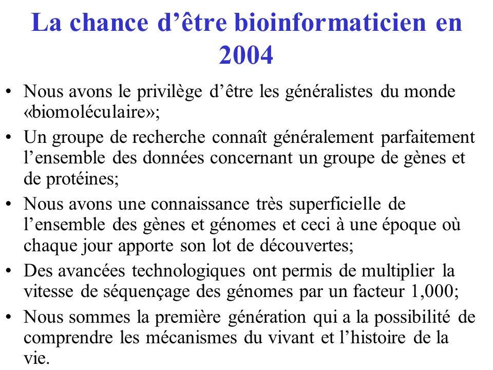 La chance dêtre bioinformaticien en 2004 Nous avons le privilège dêtre les généralistes du monde «biomoléculaire»; Un groupe de recherche connaît géné