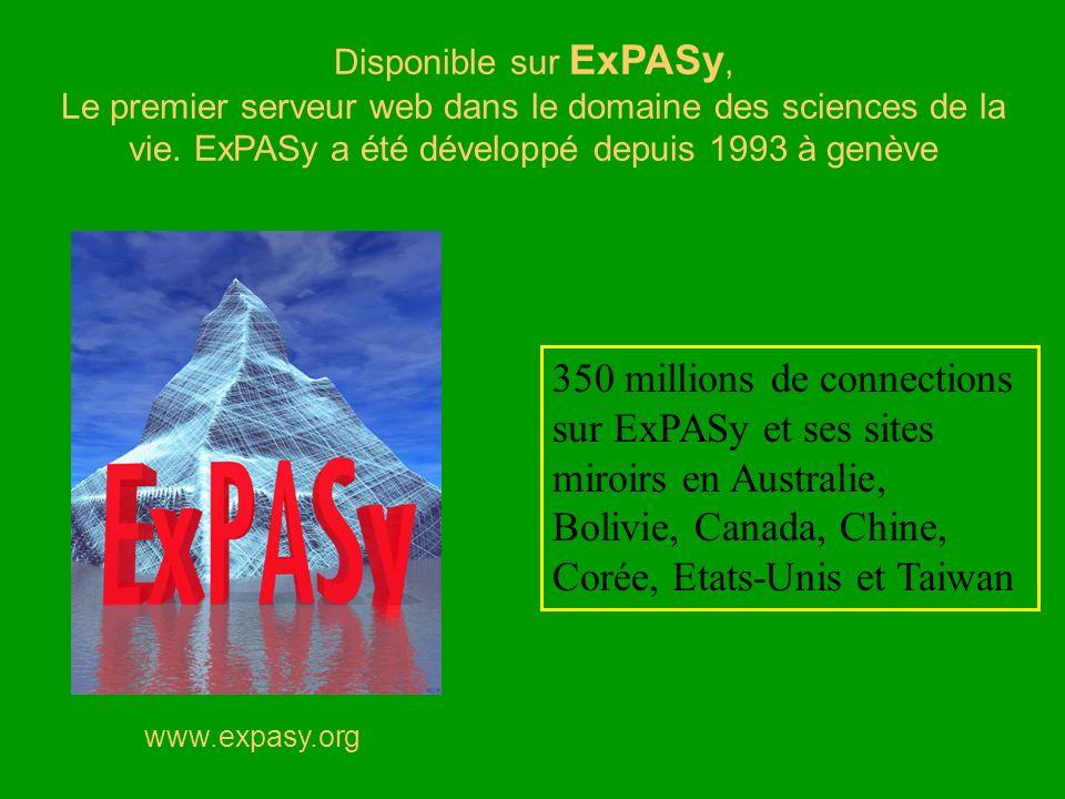 www.expasy.org Disponible sur ExPASy, Le premier serveur web dans le domaine des sciences de la vie. ExPASy a été développé depuis 1993 à genève 350 m