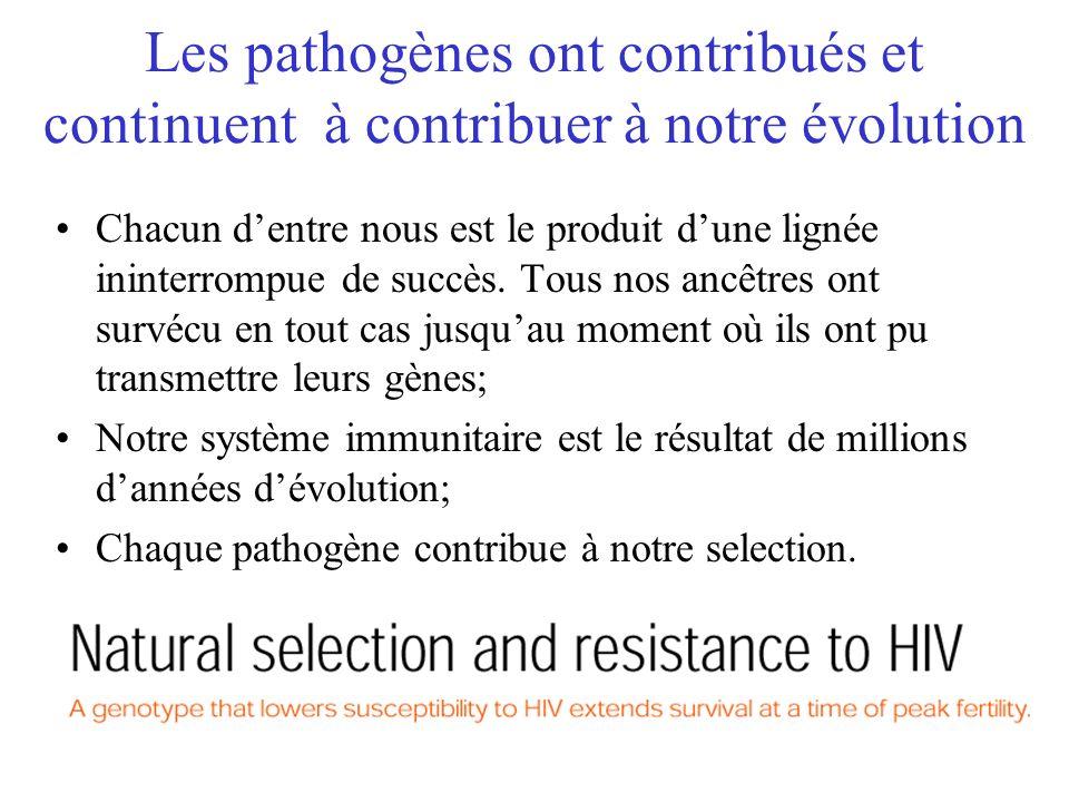 Les pathogènes ont contribués et continuent à contribuer à notre évolution Chacun dentre nous est le produit dune lignée ininterrompue de succès. Tous
