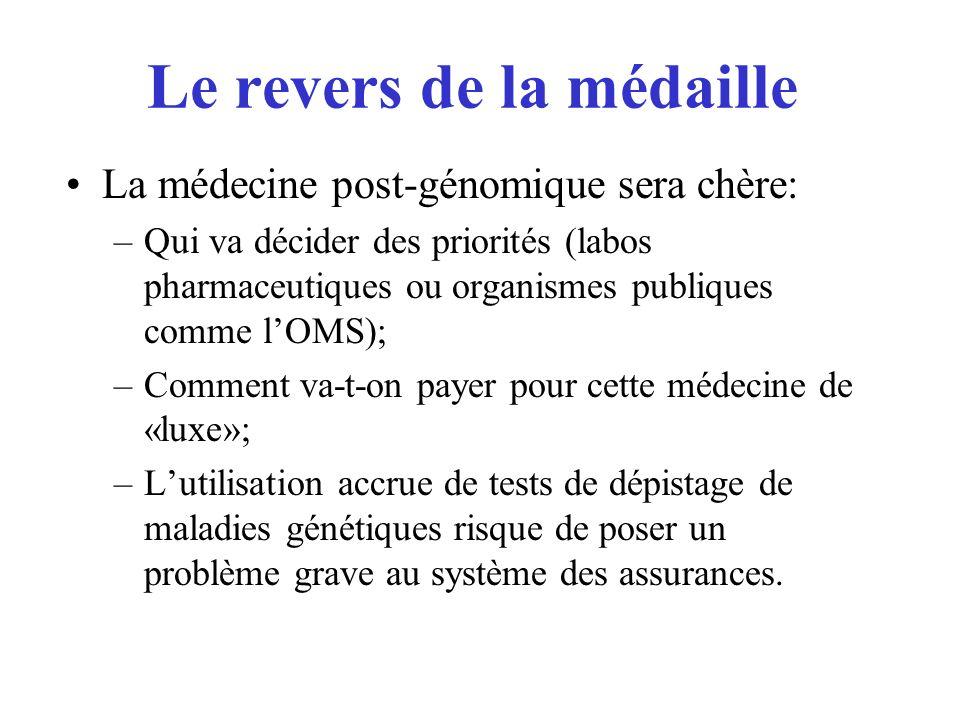 Le revers de la médaille La médecine post-génomique sera chère: –Qui va décider des priorités (labos pharmaceutiques ou organismes publiques comme lOM