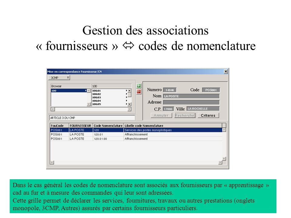 Gestion des associations « fournisseurs » codes de nomenclature Dans le cas général les codes de nomenclature sont associés aux fournisseurs par « apprentissage » cad au fur et à mesure des commandes qui leur sont adressées.