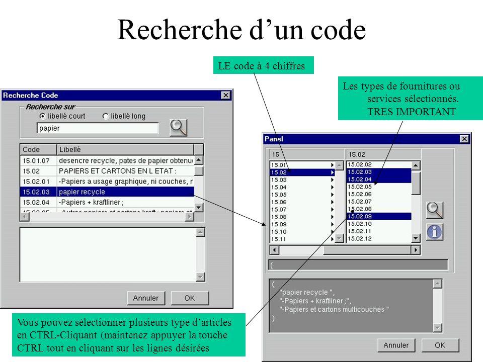 Recherche dun code LE code à 4 chiffres Les types de fournitures ou services sélectionnés.