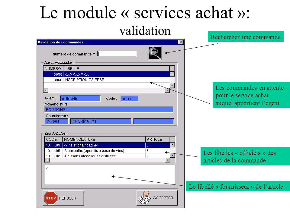 Le module « services achat »: validation Rechercher une commande Les libellés « officiels » des articles de la commande Les commandes en attente pour le service achat auquel appartient lagent Le libellé « fournisseur » de larticle