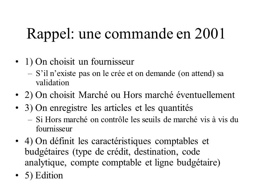 Onglet « Hors Marché » cétait le cas général avant 2002 On choisit un fournisseur (comme avant!)pour lequel on choisira un code de nomenclature (famille de produits).