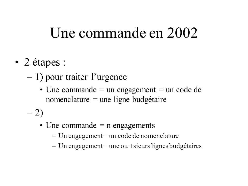 Une commande en 2002 2 étapes : –1) pour traiter lurgence Une commande = un engagement = un code de nomenclature = une ligne budgétaire –2) Une commande = n engagements –Un engagement = un code de nomenclature –Un engagement = une ou +sieurs lignes budgétaires