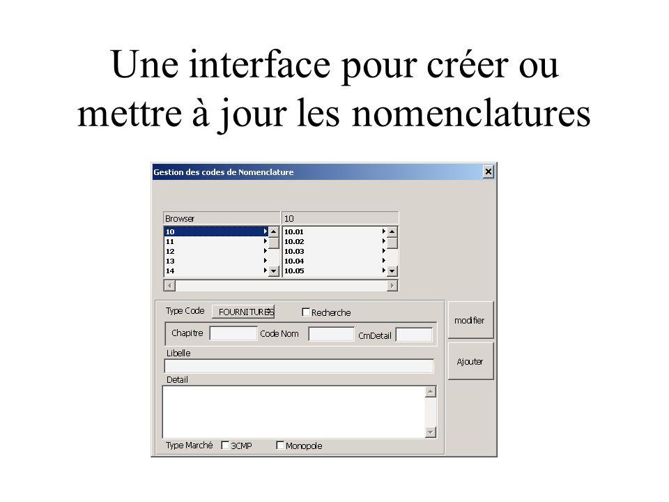 Une interface pour créer ou mettre à jour les nomenclatures