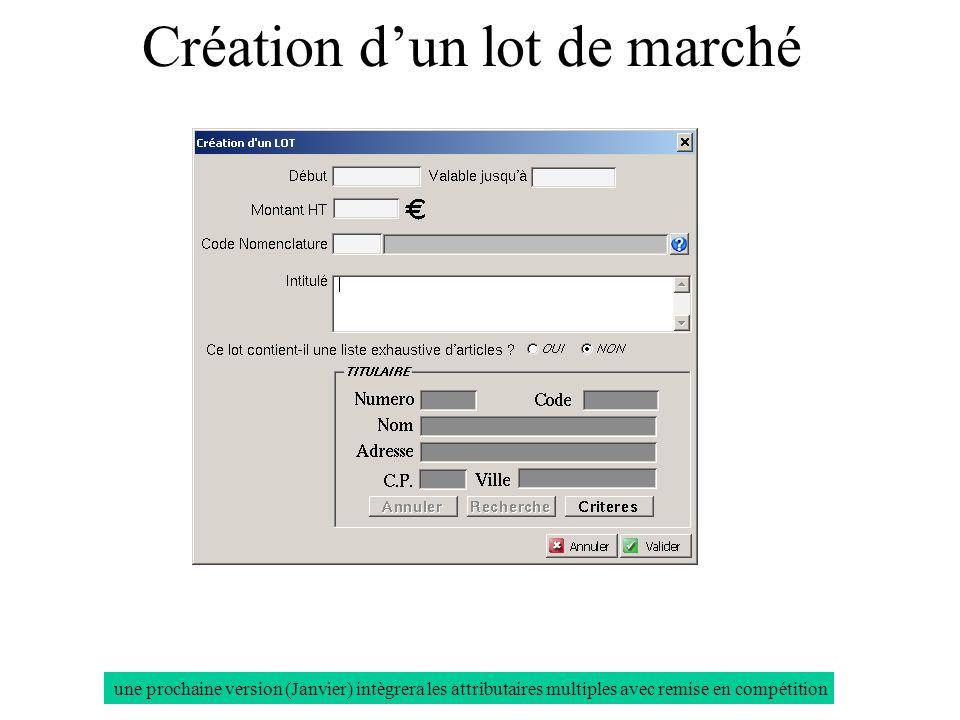 Création dun lot de marché une prochaine version (Janvier) intègrera les attributaires multiples avec remise en compétition