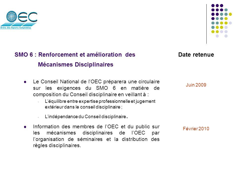 SMO 7 : Adoption et mise en place des IAS/IFRS Date retenue Travailler en collaboration avec le CNC pour élaborer un projet de nouvelles normes comptables marocaines comprenant les normes IFRS.