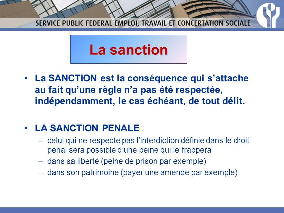 La sanction La SANCTION est la conséquence qui sattache au fait quune règle na pas été respectée, indépendamment, le cas échéant, de tout délit.