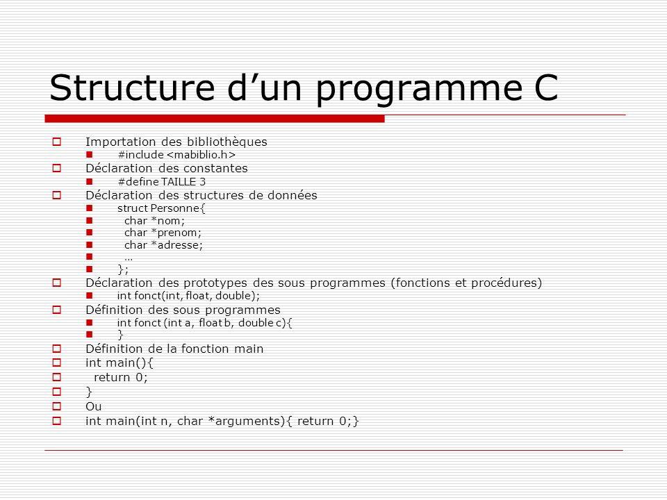 Structure dun programme C Importation des bibliothèques #include Déclaration des constantes #define TAILLE 3 Déclaration des structures de données str