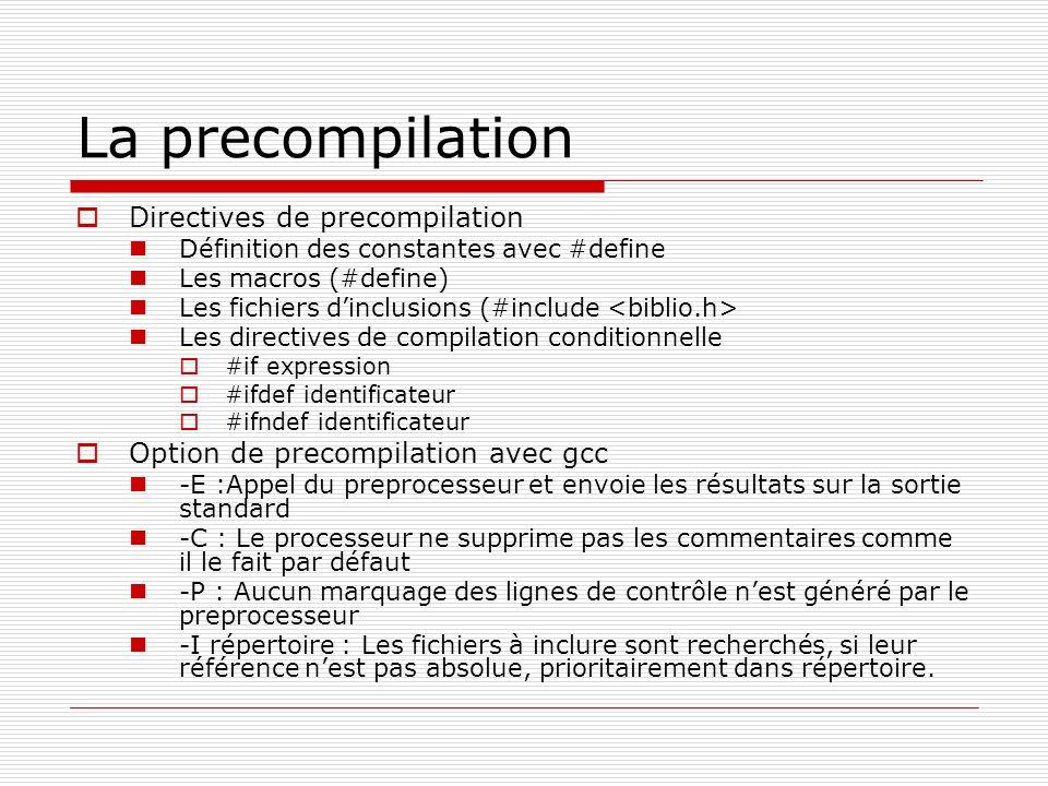 La precompilation Directives de precompilation Définition des constantes avec #define Les macros (#define) Les fichiers dinclusions (#include Les dire