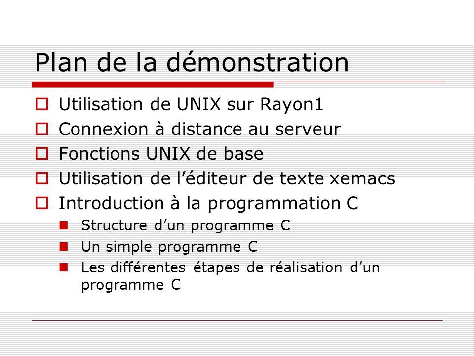 Plan de la démonstration Utilisation de UNIX sur Rayon1 Connexion à distance au serveur Fonctions UNIX de base Utilisation de léditeur de texte xemacs