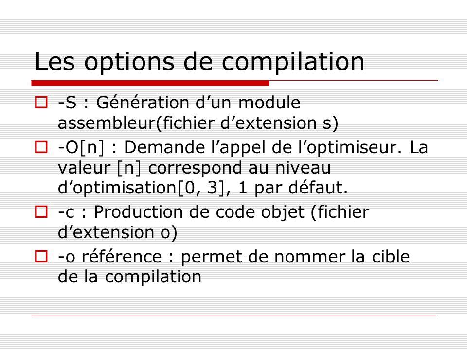 Les options de compilation -S : Génération dun module assembleur(fichier dextension s) -O[n] : Demande lappel de loptimiseur. La valeur [n] correspond