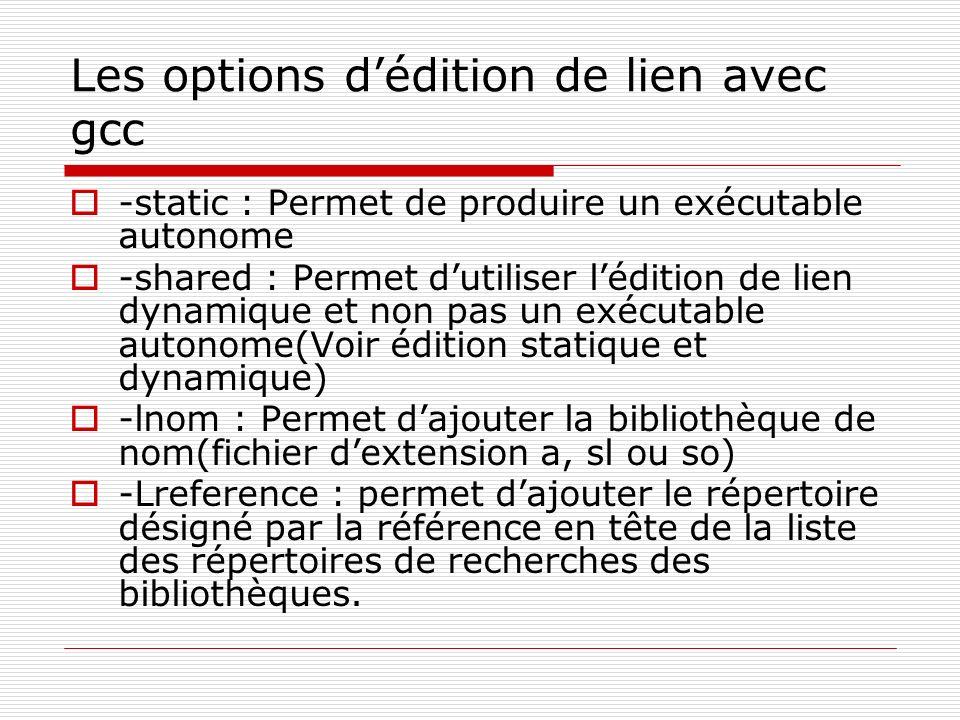 Les options dédition de lien avec gcc -static : Permet de produire un exécutable autonome -shared : Permet dutiliser lédition de lien dynamique et non