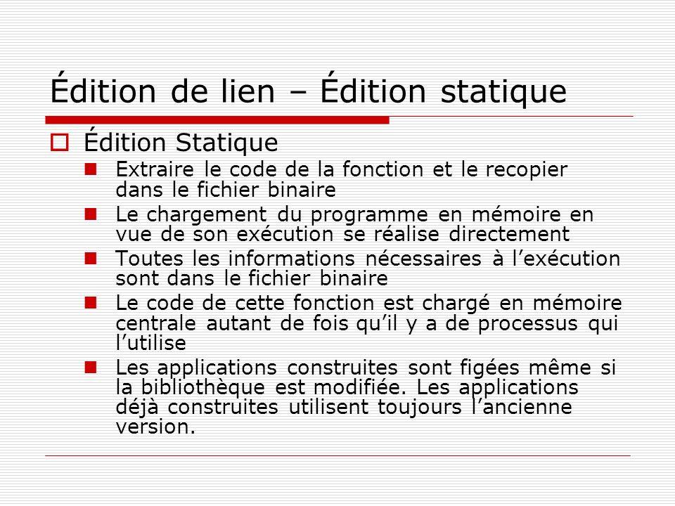 Édition de lien – Édition statique Édition Statique Extraire le code de la fonction et le recopier dans le fichier binaire Le chargement du programme