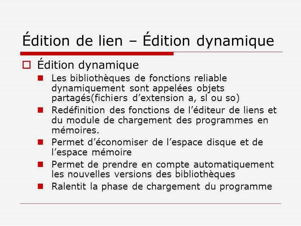 Édition de lien – Édition dynamique Édition dynamique Les bibliothèques de fonctions reliable dynamiquement sont appelées objets partagés(fichiers dex