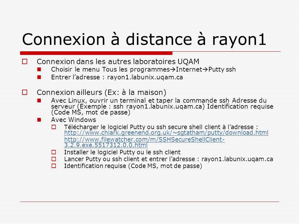 Connexion à distance à rayon1 Connexion dans les autres laboratoires UQAM Choisir le menu Tous les programmes Internet Putty ssh Entrer ladresse : ray