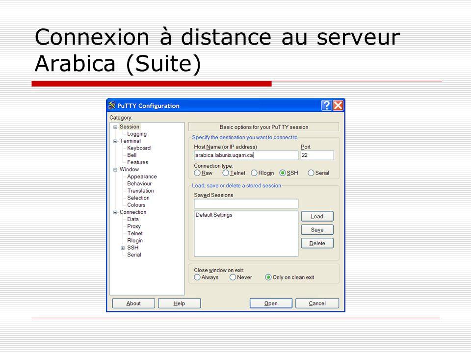 Connexion à distance au serveur Arabica (Suite)