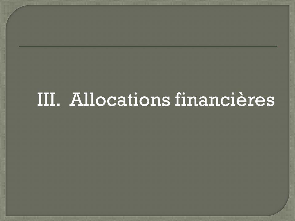 III. Allocations financières