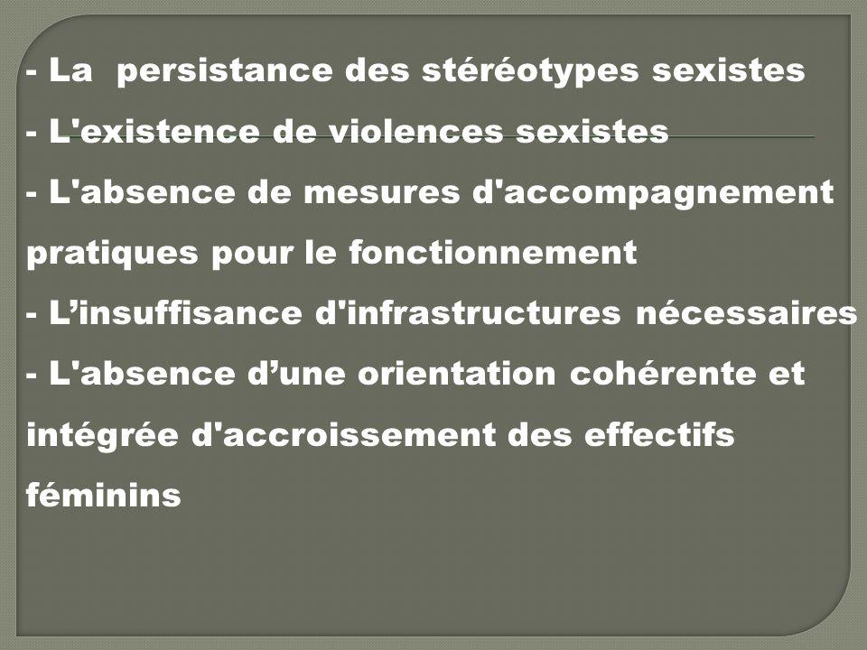 - La persistance des stéréotypes sexistes - L existence de violences sexistes - L absence de mesures d accompagnement pratiques pour le fonctionnement - Linsuffisance d infrastructures nécessaires - L absence dune orientation cohérente et intégrée d accroissement des effectifs féminins